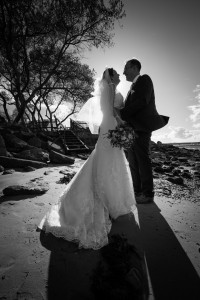 Shell Bay wedding black and white